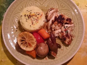 Orientalisches Salbeihuhn mit Champignon-Feigen-Gemüse und Safran-Reis - Rezept - Bild Nr. 2176