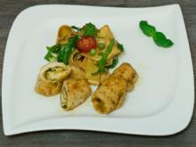 Hähnchen-Pesto-Röllchen mit Ruccola-Nudelsalat - Rezept - Bild Nr. 2285