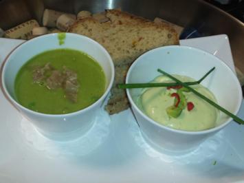 Kalte Avocado-Joghurt-Suppe und warme Riesling-Erbsen-Schaum-Suppe mit Chili und Limette - Rezept - Bild Nr. 2301