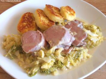 Rezept: Schweinefilet auf Rahmwirsing