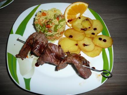 Souflaki Spieße an Pommes + griechischem Reis. - Rezept - Bild Nr. 3359