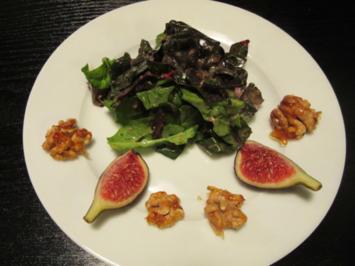Feiner Mangold-Spinat-Salat mit kandierten Walnüssen an Feigen-Honig-Senf-Vinaigrette - Rezept - Bild Nr. 2475