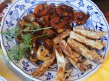 Crevetten mit Champignons und Selleriepommes - Rezept - Bild Nr. 2772