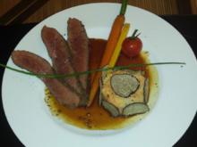 Flanksteak vom Rind, getrüffeltem Kartoffel-Sellerie Püree und glasierten Karotten - Rezept - Bild Nr. 2775