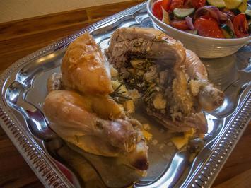 Rezept: Knoblauch-Hähnchen mit mediterranem Gemüse