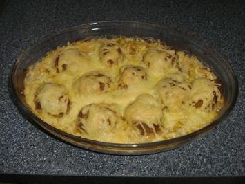 Hackbällchen mit Lauchgemüse und Käse überbacken - Rezept - Bild Nr. 3135