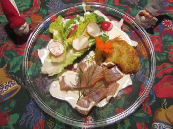 Kräuter-Forelle an Salatherzen mit Radieschen, Kartoffelpuffer und Buttermilch-Dip - Rezept - Bild Nr. 3199
