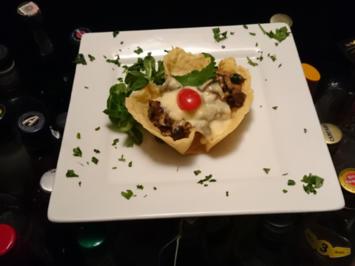 Parmesankörbchen mit Käsefondue Funghi und Polenta - Rezept - Bild Nr. 3359