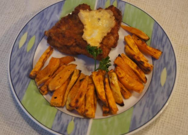 Kalbsschnitzel mit Süßkartoffel Pommes frites  - Rezept - Bild Nr. 3359