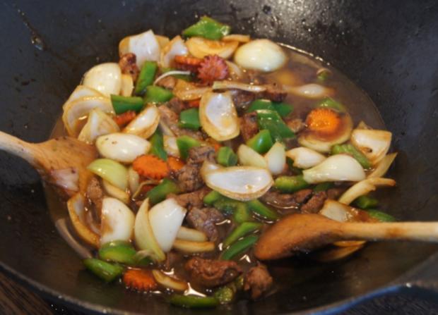 Wok-Kalbsleber mit Gemüse und Reis - Rezept - Bild Nr. 3462