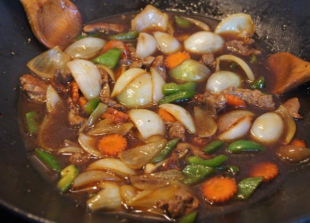 Wok-Kalbsleber mit Gemüse und Reis - Rezept - Bild Nr. 3463