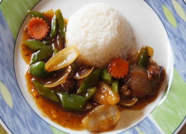 Wok-Kalbsleber mit Gemüse und Reis - Rezept - Bild Nr. 3464