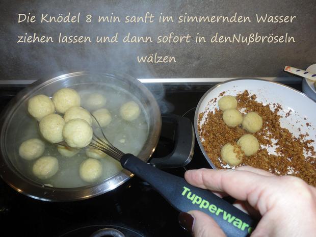 """Vegane """" Topfen """" Knödel in Nußbrösel auf Fruchtspiegel - Rezept - Bild Nr. 3539"""
