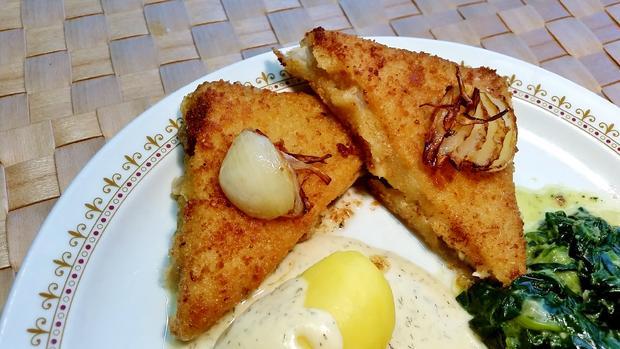 Dill-Rahmsoße zu gebratenem Fisch und Blattspinat - Rezept - Bild Nr. 3536
