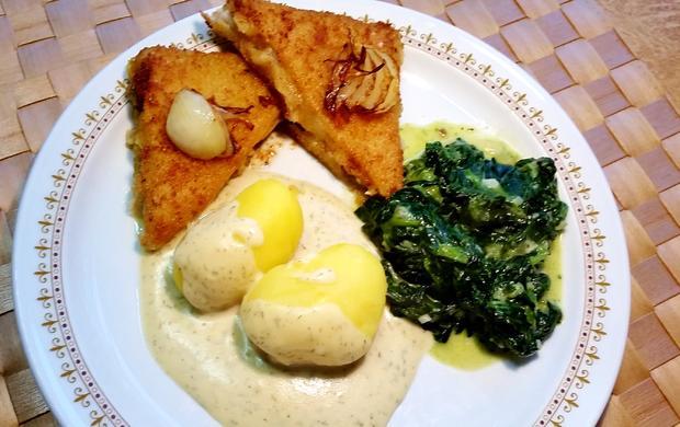 Dill-Rahmsoße zu gebratenem Fisch und Blattspinat - Rezept - Bild Nr. 3532