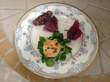 Variation aus Fisch, Fleisch und Salat - Rezept - Bild Nr. 3559
