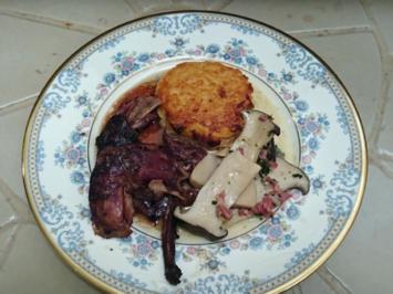 Rezept: Hase in Sauce del Ley mit Kartoffelrösti und Pilzen