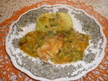 Putenschnitzelchen mit Aprikosen - Lauchzwiebelgemüse - Rezept - Bild Nr. 3581