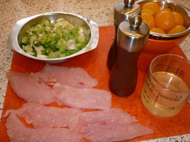 Putenschnitzelchen mit Aprikosen - Lauchzwiebelgemüse - Rezept - Bild Nr. 3582