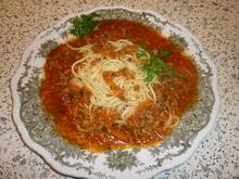 Spaghetti mit Tomaten - Hackfleisch - Soße  - Rezept - Bild Nr. 3712