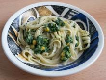 Linguine mit einer Spinat - Käse - Sauce - Rezept - Bild Nr. 3872