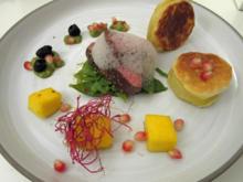 Bisonfilet - Mango - Oliven - Kefe - Erdapfel - Vanille - Granatapfel - Rezept - Bild Nr. 3891