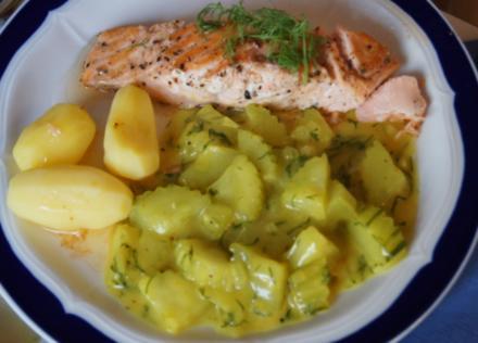 Lachsfilet mit Dill-Salatgurke-und Drillingen - Rezept - Bild Nr. 4021