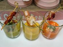 Dreierlei Paprika-Süppchen mit Crunchy Bacon und Scampi-Spieß - Rezept - Bild Nr. 4196