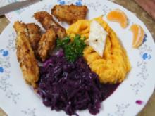 Gebackene Fischsticks mit Süßkartoffelstampf und Rotkohl - Rezept - Bild Nr. 4235