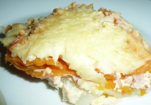 Kohlrabi - Süßkartoffel - Gratin mit Kasseler Lachsbraten. - Rezept - Bild Nr. 4347