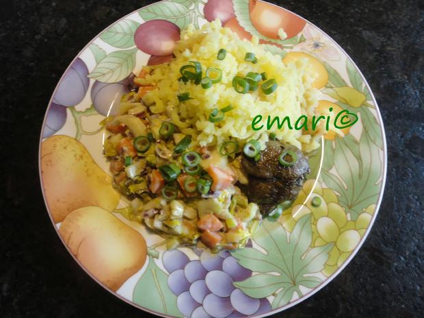 Senfgemüse mit Hühnerleber und Presskartoffel - Rezept - Bild Nr. 4389