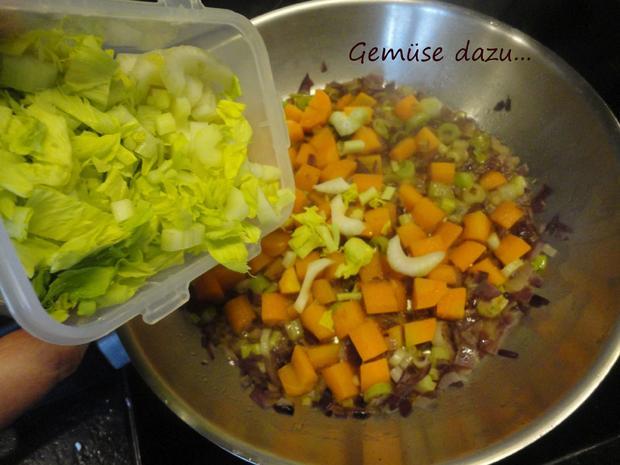 Senfgemüse mit Hühnerleber und Presskartoffel - Rezept - Bild Nr. 4393