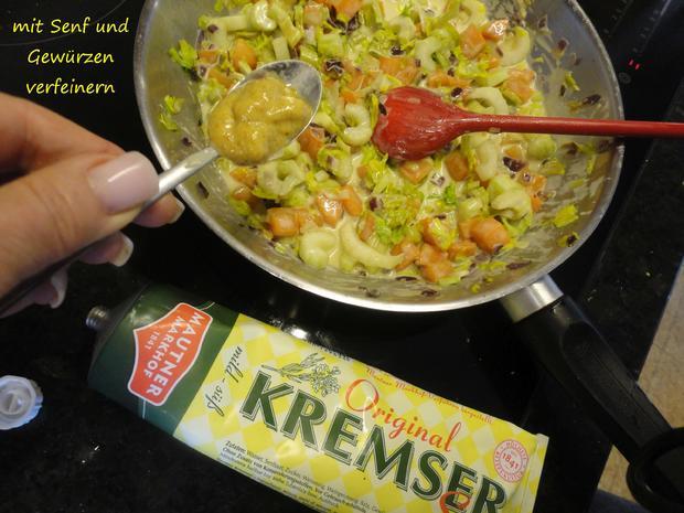 Senfgemüse mit Hühnerleber und Presskartoffel - Rezept - Bild Nr. 4395