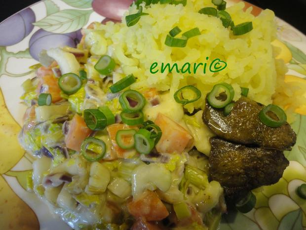 Senfgemüse mit Hühnerleber und Presskartoffel - Rezept - Bild Nr. 4397