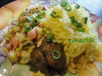Rezept: Senfgemüse mit Hühnerleber und Presskartoffel