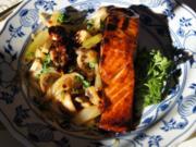 Lachsfilet mit Fenchel und Champignon Gemüse - Rezept - Bild Nr. 4430