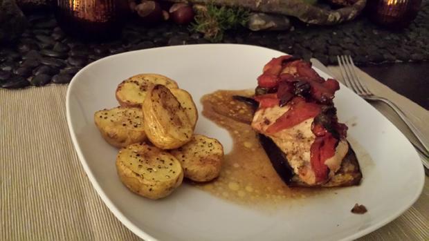 Hühnerbrustfilet mediterran im Ofen gegart - Rezept - Bild Nr. 4618