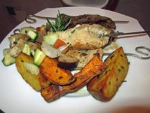 Souflaki mit viererlei Fleisch, Ofengemüse und Ofenkartoffeln - Rezept - Bild Nr. 4649