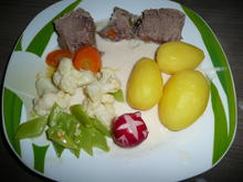 Rindfleischsuppe mit Reis + Rindfleisch mit Meerrettichsoße + Kartoffeln + Gemüse - Rezept - Bild Nr. 4769