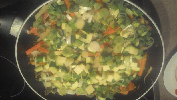 Gemüsepfanne mit frischen Fisch oder Garnelen - Rezept - Bild Nr. 4795