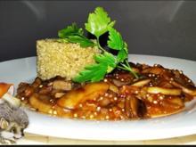 Pikante Champignons-Sauce mit weißen Quinoa-Türmchen - Rezept - Bild Nr. 4883