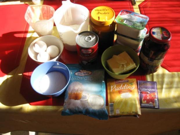 Käsekuchen mit Kokosmilch und Kirschen - Rezept - Bild Nr. 5034