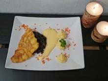 Zander mit Kartoffelhaube, Balsamicolinsen und Weinschaum - Rezept - Bild Nr. 5049