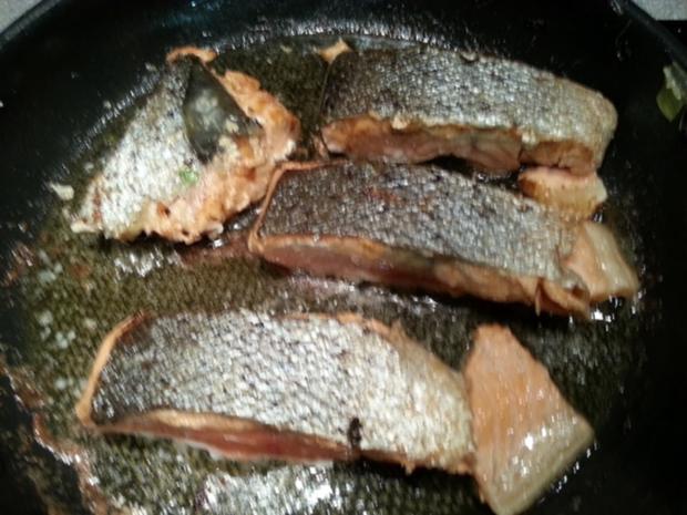 Lauwarmer Lachs auf Cremegemüse à la Biggi - Rezept - Bild Nr. 5239