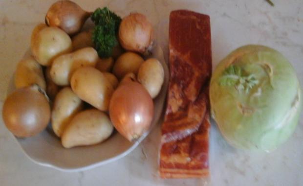 Geräucherter Bauchspeck mit Drillingen und Kohlrabi in Sauce - Rezept - Bild Nr. 2