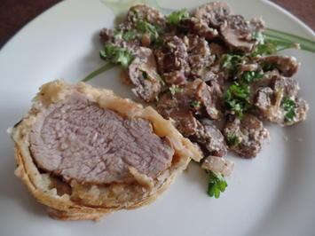 Rezept: Schweinefilet mit Käsekruste im Blätterteigmantel