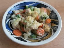 Hähnchen - Gemüse - Auflauf mit Käse - Kräuter Sosse - Rezept
