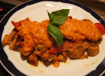 Schaschlikpfanne mit Currysauce - Rezept