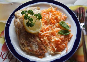 Rezept: Fischfiletpfanne mit Möhren-Sellerie-Salat