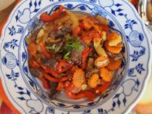 Rindfleischstreifen mit Gemüsepfanne - Rezept